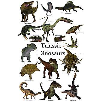 Affiche des dinosaures préhistoriques et des reptiles durant le Trias période Poster Print par Corey FordStocktrek Images