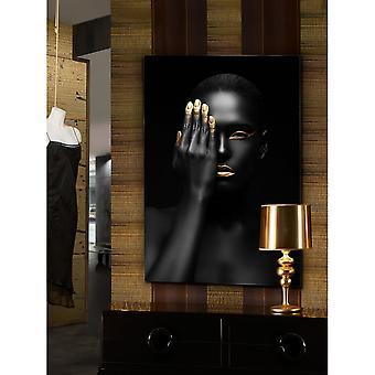 Schuller Modern Wall Art Of Matt Black And Gold Tones, 80x120cm