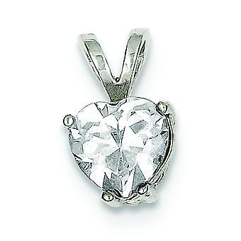 925 plata esterlina sólido simulado espalda abierta corazón cúbico Zirconia colgante