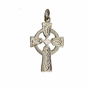 9ct Gold 28x20mm hand engraved knot pattern Celtic Cross