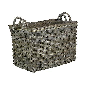 Set of 2 Rectangular Grey Rattan Hallway Log Basket