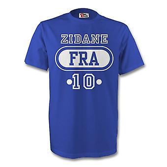 Zinedine Zidane Frankreich Fra T-shirt (blau) - Kids