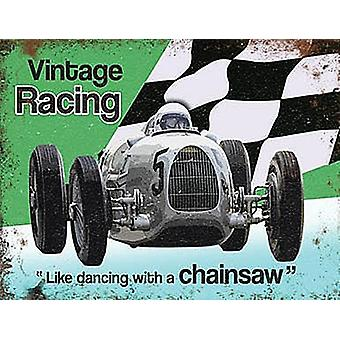 Coche carreras Vintage pequeña acero firmar 200 Mm X 150 Mm