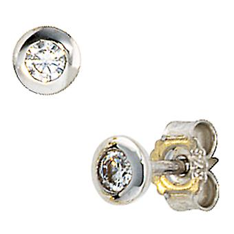 Earring studs, 375 / - white gold, 2 cubic zirconia, diameter 3.9 mm, earring ladies