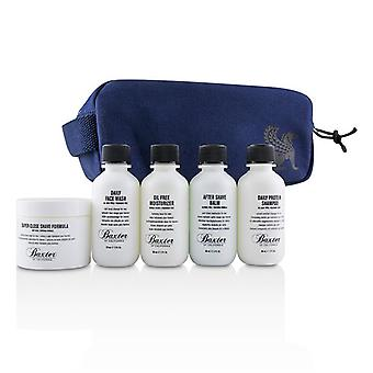 Baxter Of California Travel Starter Kit: Face Wash + Shave Formula + Moisturizer + Shave Balm + Shampoo + Bag - 5pcs + 1 Bag
