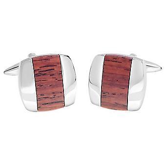 David Van Hagen glanzende vierkant houten centrum Stripe Manchetknopen - bruin/zilver