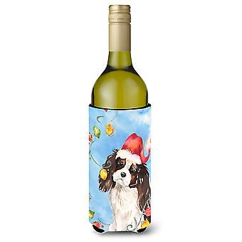 Christmas Lights Tricolor Cavalier Spaniel Wine Bottle Beverage Insulator Hugger