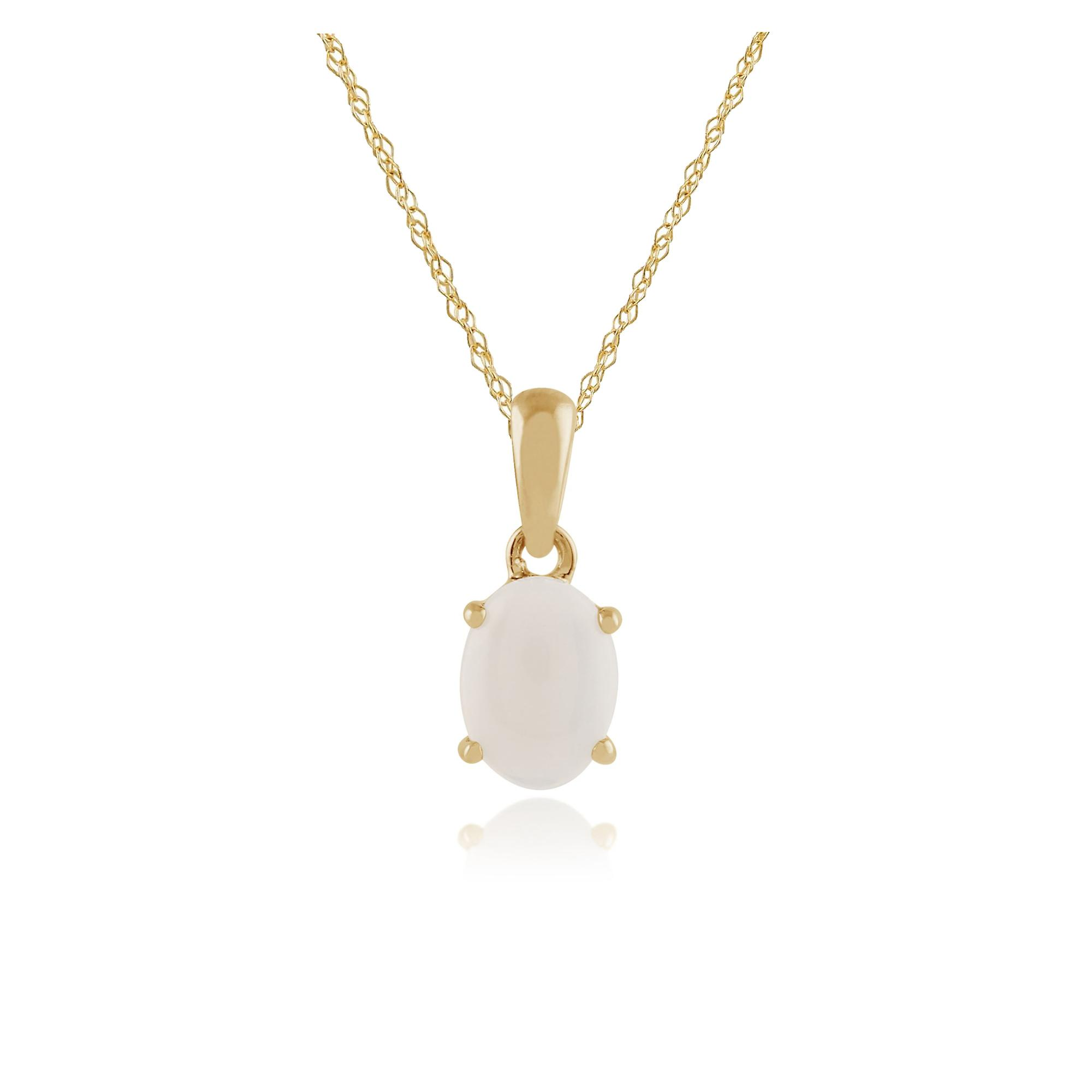 9ct Yellow Gold 0.69ct Opal Oval Cabochon Single Stone Pendant on Chain