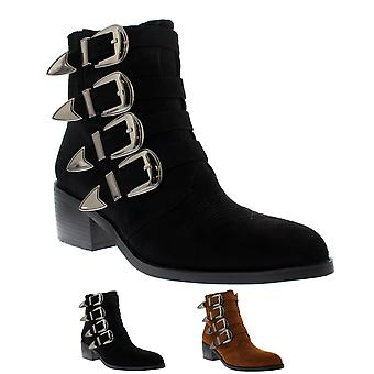 Womens Rock Fashion Strappy Punk Combat Military Retro Army Ankle Boots UK 3-10