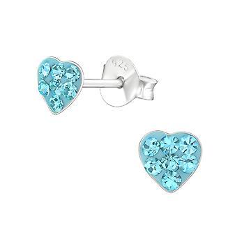 Heart - 925 Sterling Silver Crystal Ear Studs - W18343X