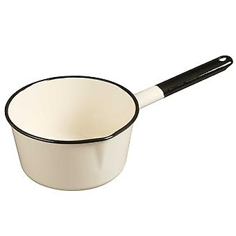 Emalia Enamel Saucepan With Lip 14 Cm Cream / Black