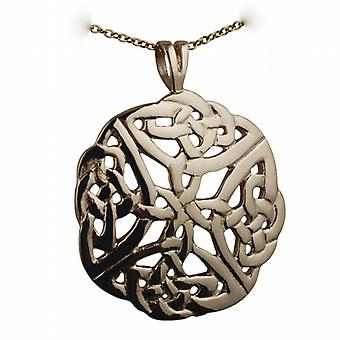 9ct Gold 27mm round Celtic knot design Pendant with a cable Chain 16 inches Only Suitable for Children