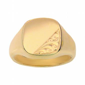9ct Gold 14x13mm solid hand engraved cushion Signet Ring Size W