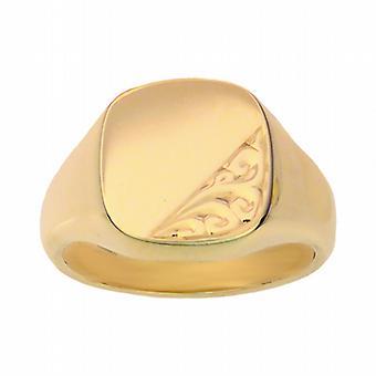9ct arany 14x13mm tömör kézzel vésett párna Signet Ring méret W