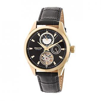 Heritor automatische Sebastian semi-skelet lederen-Band Watch - goud/zwart