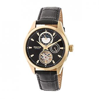 Heritor Sebastian automático esqueleto semi couro-Band Watch - ouro/preto