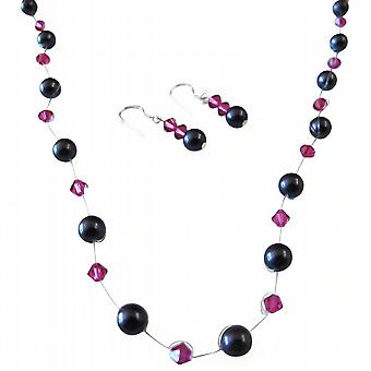 Elegante Brautjungfer Geschenke dunkel lila Perlen Fuchsia Kristall Schmuck