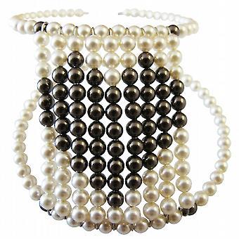 Perle Avorio perle marrone cioccolato cuore regalo bracciale flessibile