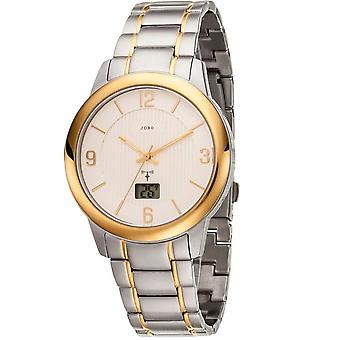 JOBO men's wristwatch radio radio clock stainless steel bicolor gold plated date