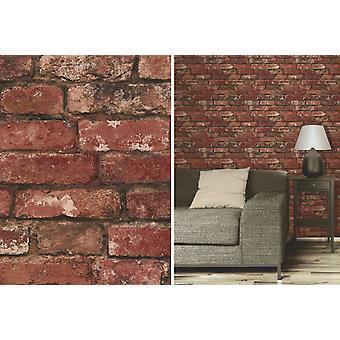 Fine Decor Red Rustic Brick Effect Feature Wallpaper