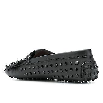 Tod's women's moccasins in black Leather with matching studs
