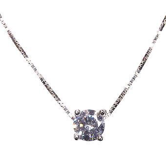 Vitt guld halsband med cubic zirconia
