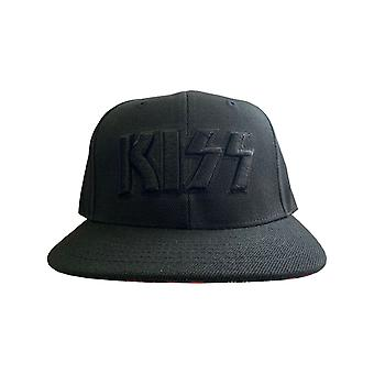 KISS Baseball Cap Neon Faces Band Logo Brim Print new Official Black Snapback