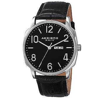 Akribos XXIV AK801SSB Day Date Goldtone Accent Black Leather Strap