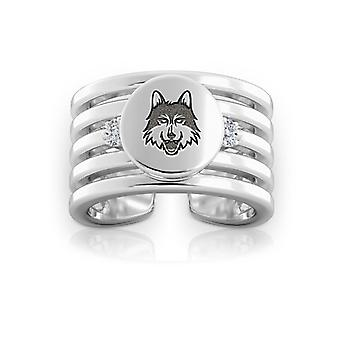 Loyola University Chicago Engraved Sterling Silver Diamond Multiband Cuff Ring