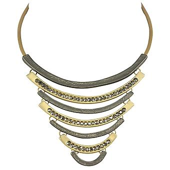 Eternal Collection Impressions Smoky Crystal Matte Two Tone Statement Necklace