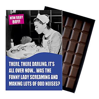 Funny New Baby Boy Birth Gift For Newborn Mum Boxed Chocolate Greeting Card Present CDL138