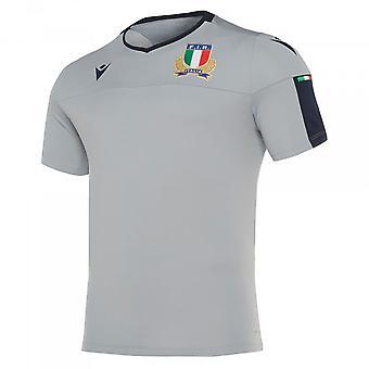 2019-2020 إيطاليا ماكرون الرجبي بولي قميص التدريب (رمادي)