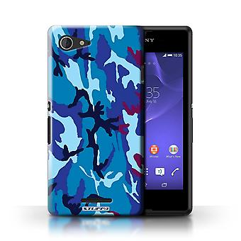 STUFF4 Case/Cover for Sony Xperia E3/Blue 4/Camouflage Army Navy