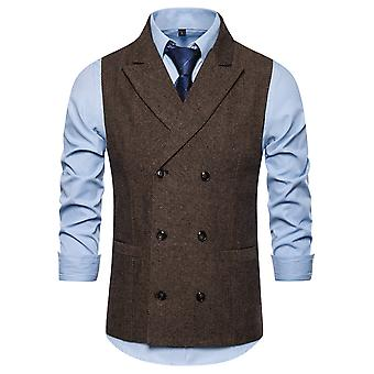YANGFAN Men's Double Breasted Herringbone Vest Casual Pierced Collar Waistcoats