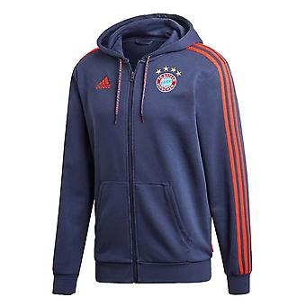 2019-2020 Bayern Munich Adidas 3S Hooded Zip (Trace Blue)