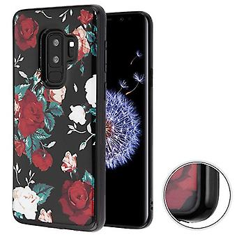 MYBAT Red and White Roses (Black) Krystal Gel Series Candy Skin Cover for Galaxy S9 Plus