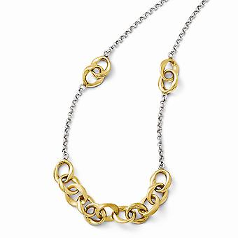 925 Sterling Silver Polished Fancy Lobster Closure and 14k Gold Plated Necklace Jewelry Gifts for Women