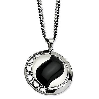 Stainless Steel IP black-plated Fancy Lobster Closure Polished and Black Simulated Onyx Pendant Double Chain Necklace -