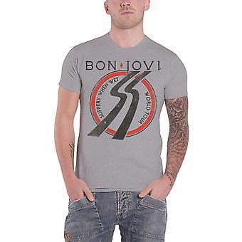 Bon Jovi T Shirt Slippery When Wet European Tour 1986 new Official Mens Grey
