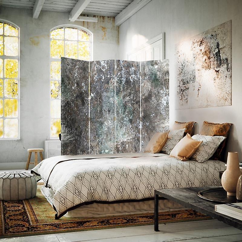 Diviseur de chambre, 4 panneaux, toile, mur de béton