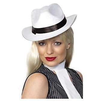 Womens Gangster Hut weißen Kostüm Zubehör
