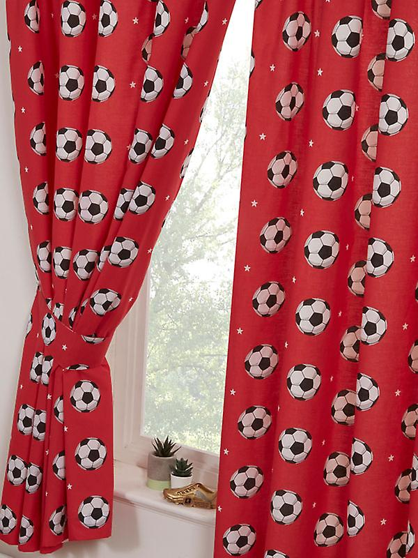 Football Red Lined Curtains