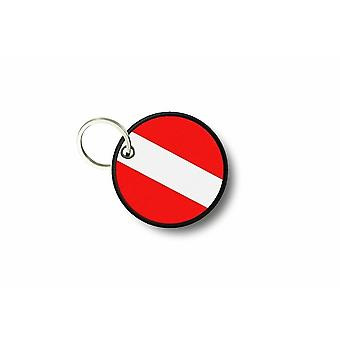 Porte Cle Cles Clef Brode Patch Ecusson Drapeau Scuba Plongeur Diver