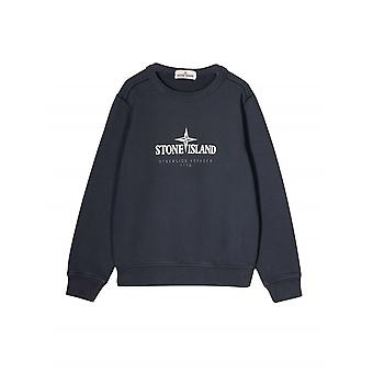 Stone Island Junior Navy Blue Logo Sweatshirt