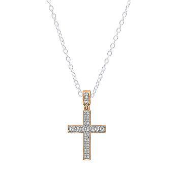 Dazzlingrock Collection 0.18 Carat (ctw) 14K Round Diamond Men's Hip Hop Cross Pendant (Silver Chain Included), Rose Gold