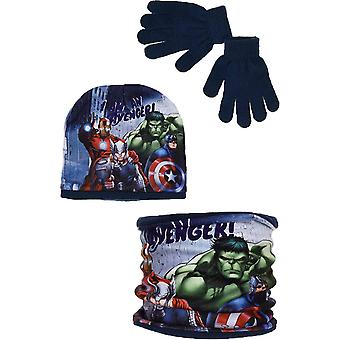 Meninos HQ4295 Avengers chapéu de inverno cachecol colarinho e luvas conjunto