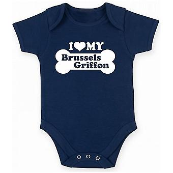 Body neonato blu navy fun1999 i love my brussels griffon