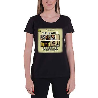 La camisa de los Beatles T mujeres oficiales largo y Winding Road negro nuevo ajuste flaco