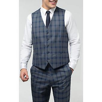 Dobell Mens Grey Waistcoat Regular Fit Blue Multi-Stripe Windowpane Check