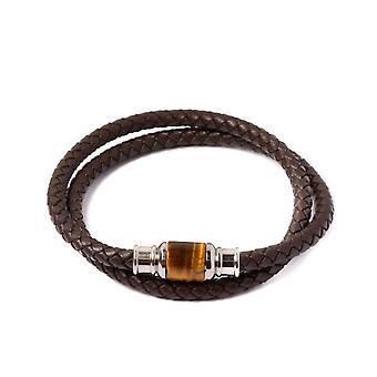 Bracelet Gemini O22 - Olympus Ultra O.Tigre Ocre & Cuir Tress� Marron Homme